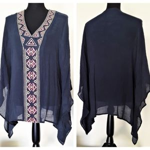 Umgee U.S.A Scarf Style Navy Boho Top Shirt Large